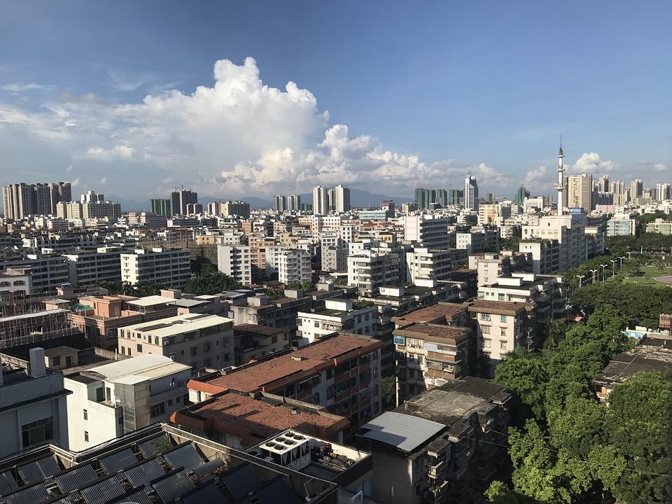 城市, 高空, 蓝天