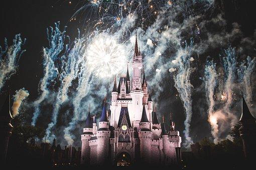 Disney Land, Castle, Night, Dark