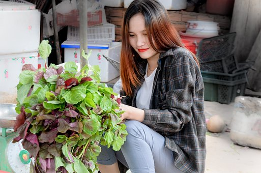 Girl, Vegetables, Nice, Background