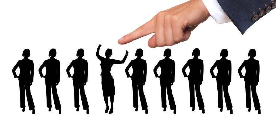 ビジネス、スタッフ、人事部長、選考