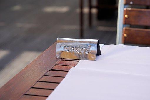 レストラン, テーブル, 予約, 文字