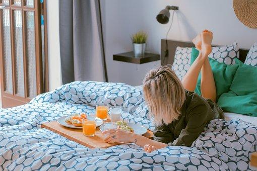 People, Woman, Breakfast, Bed, Sheet