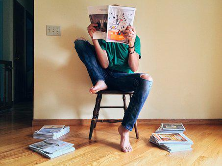 Person, Reading, Magazine, Young, Home