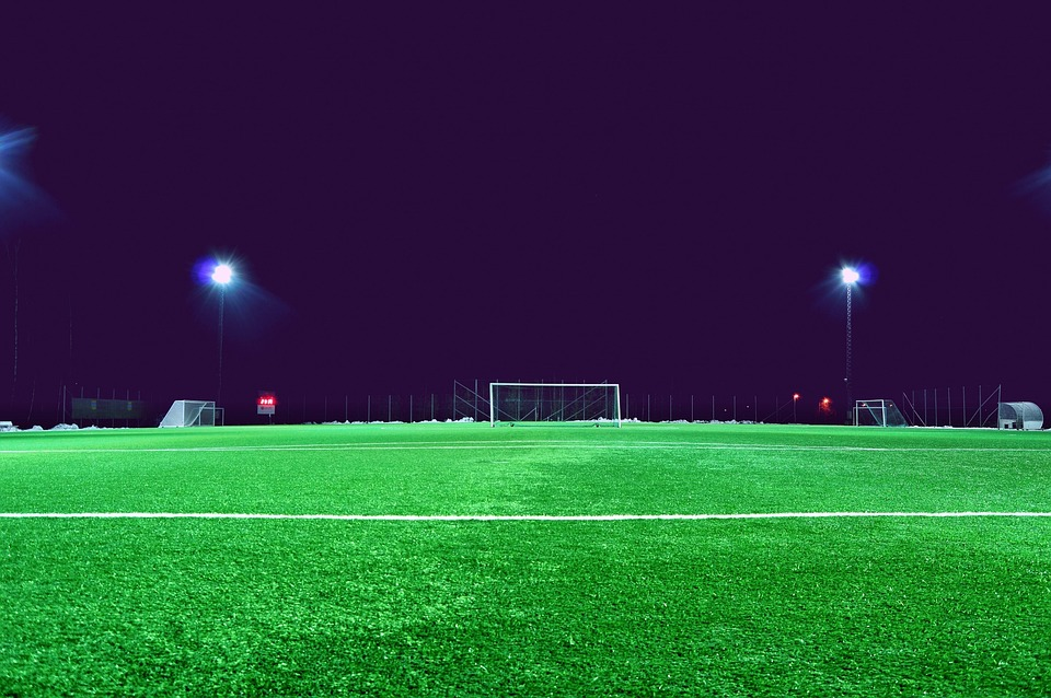 Football Field, Lane, Grass, Sports, League, Spotlights