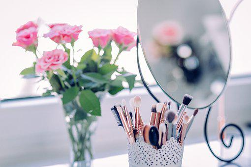 Makeup, Brush, Beauty, Mirror, Rose