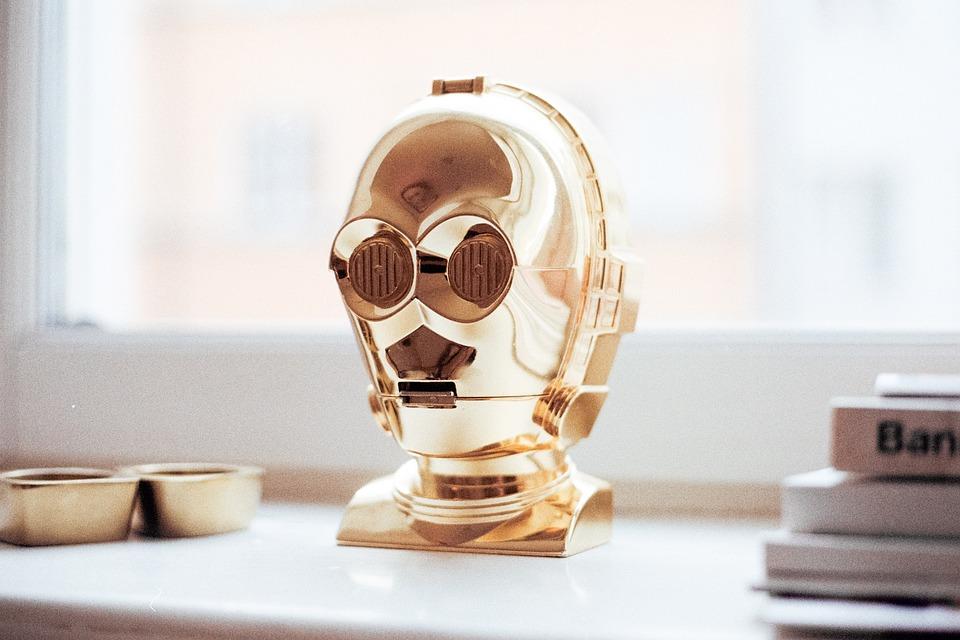 ロボット, ゴールド, 装飾, アート, テーブル, 家, ホーム, デザイン, 書籍, ウィンドウ, 反射
