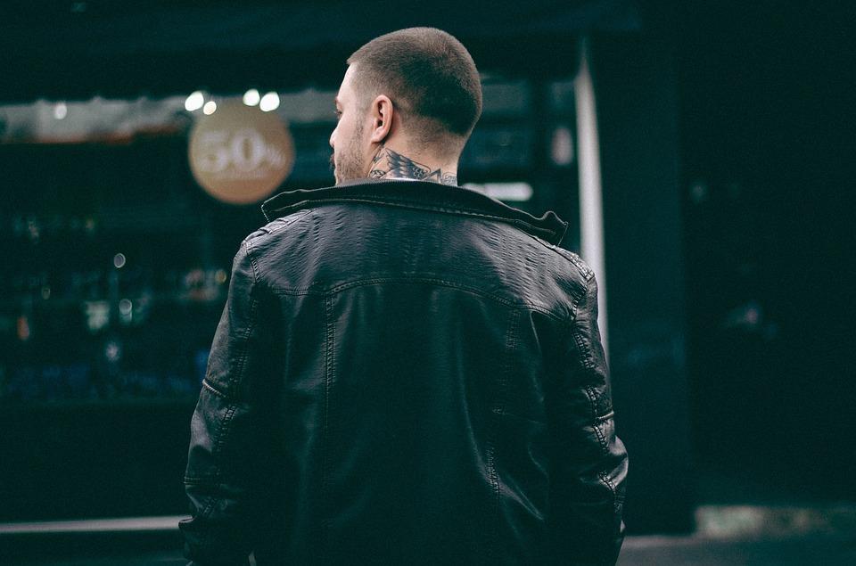 男, 戻る, ブラック, ジャケット, タトゥー, 革, ボケ, 市, 都市街, ファッション, 設立