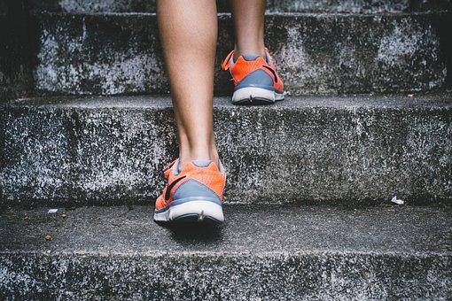 人, ナイキ, 靴, ライフスタイル, 階段, フレックス, 足, 実行