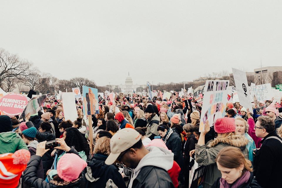 Folk, Mann, Kvinne, Protest, Rally, Likestilling, Trump