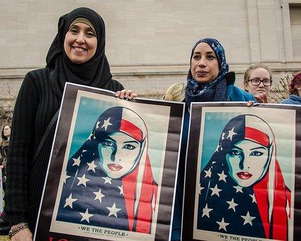 イスラム教徒, 移民, アメリカ, 私たち, 抗議, ラリー, 人, トランプ