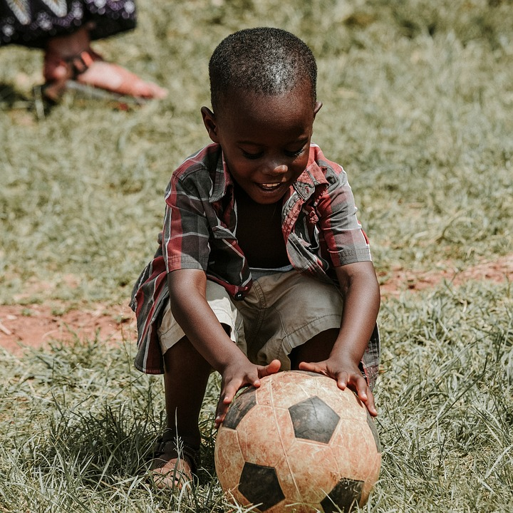 Boy, Child, Kid, Happy, Soccer, Ball, Grass