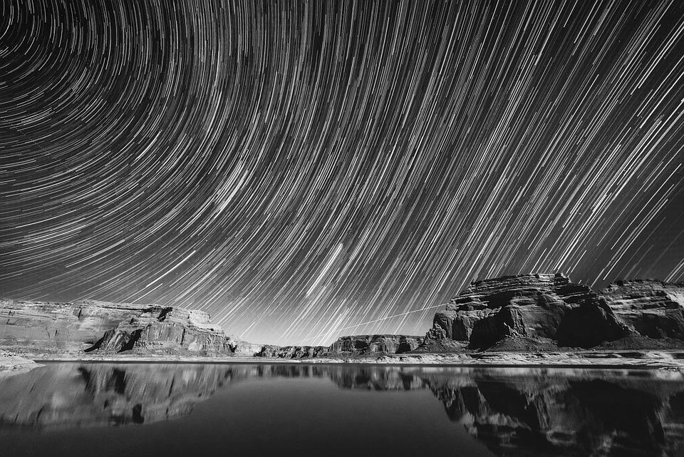 Long exposure photography dark night star sky