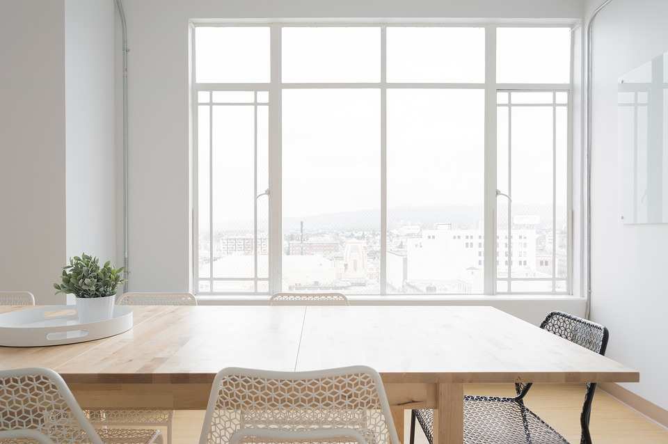 White, Room, Table, Chairs, Window