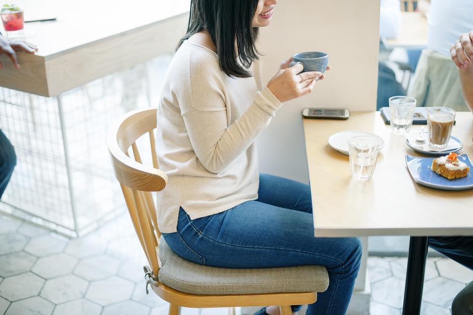 人, 女性, 日付, コーヒー, 朝食, レストラン, 水