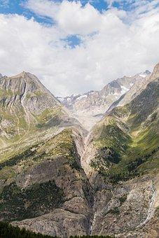 Aletsch, Montagne, Svizzera, Ghiacciaio