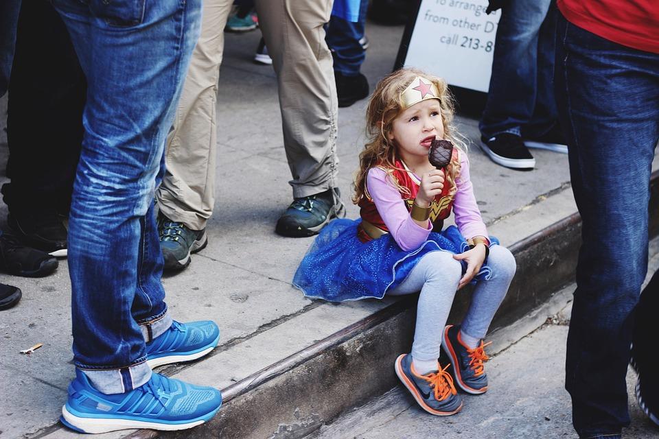人, 子ども, 子, アイスクリーム, 衣装, スーパー ヒーロー