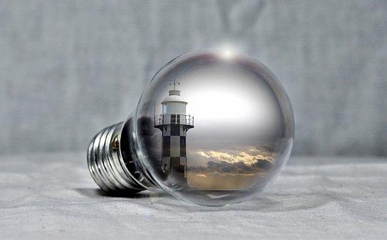 Lighthouse, Pear, Light Bulb, Sea