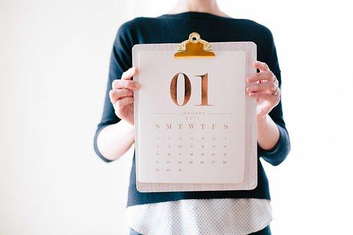 日付, 1 月, 新しい年, 人, 女性
