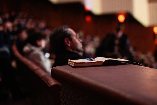 本, ペン, 人, 講堂, セミナー, 耳を傾ける