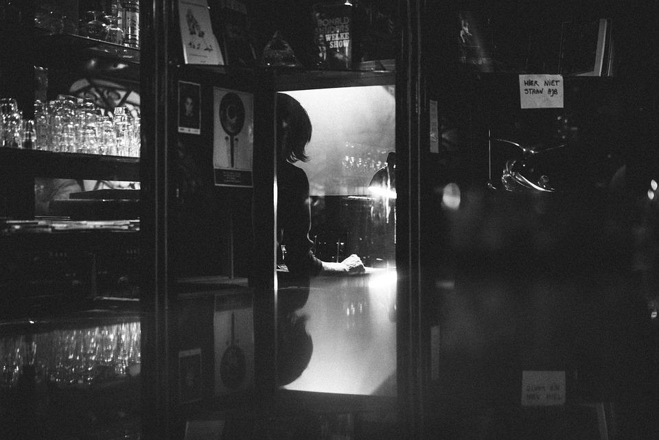 Pessoas, Bar, Monocromático, Preto E Branco