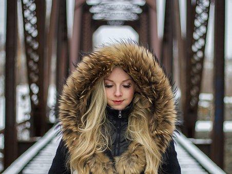 人, 女性, 毛皮, ジャケット, モデル, ファッション, 美しさ, 冷, 髪