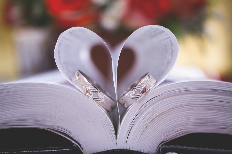 Libro, Biblia, De La Boda, Anillo, Corazón, El Amor