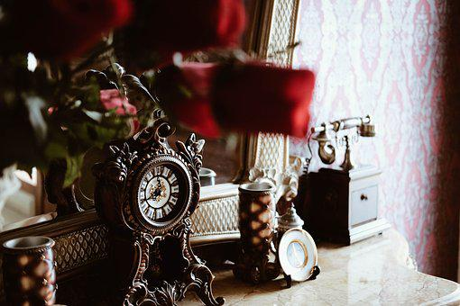 Vintage, Old, Clock, Telephone, House