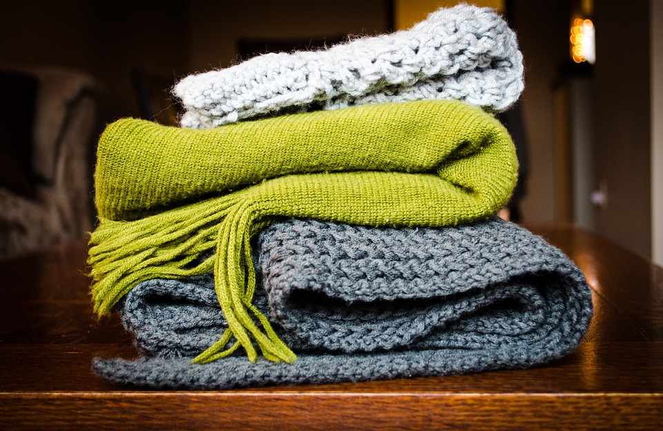 Blanket, Scarf, Cold, Cloth, Table, Green, Grey