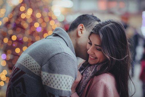 人, カップル, 接吻, 男, 女性, 笑顔, クリスマス, ハグ, ハッピー