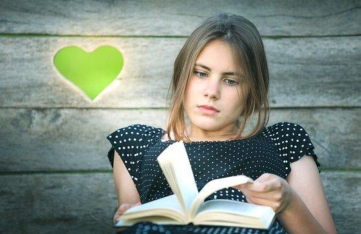 책, 소녀, 심장, 문학, 읽기, 도서관, 교육, 베스트 셀러, 문화