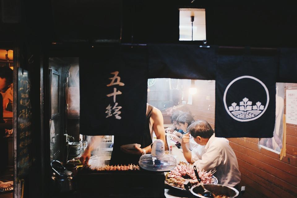 Japanese, Restaurant, People, Men, Women, Eating, Food