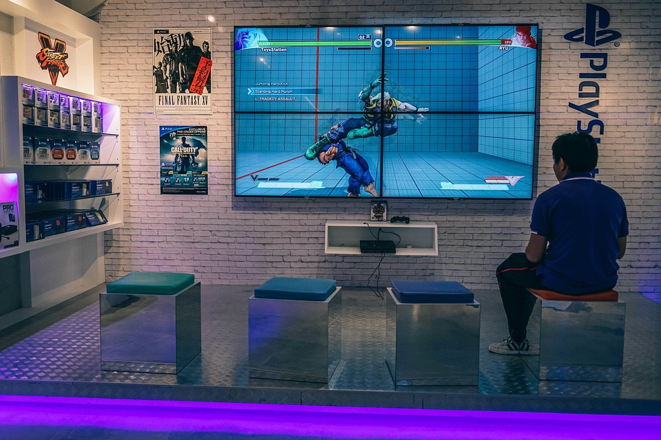 Playstation, Game, Tv, Screen, Bench, People, Man, Guy