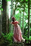 beautiful woman, dress, forest