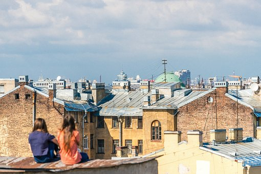 People, Girl, Friend, Talking, Rooftop