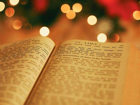 圣, 书, 圣经, 阅读, 宗教, 散景, 模糊, 圣诞节