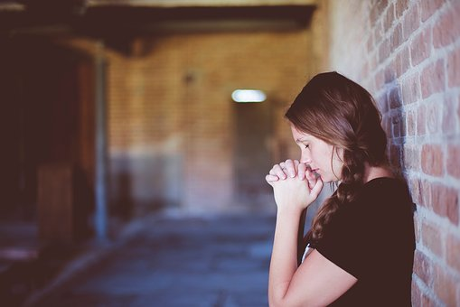 People, Girl, Alone, Praying, Wall
