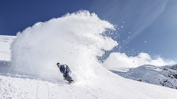 スノーボード, スポーツ, 雪, 冬, 冷, 山, 風景, 自然, 青, 空