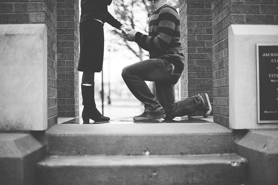 Black And White, People, Man, Woman, Couple, Propose