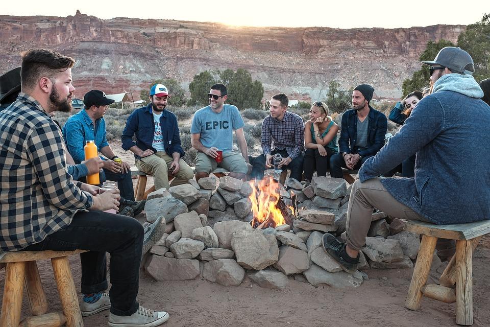 Personas, Hombres, Fuego, Llama, Camping, Rocas