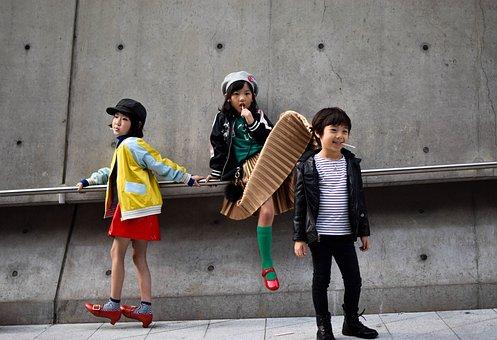 人, 孩子们, 女孩, 男孩, 儿童, 时尚, 服装, 模型, 糖果, 微笑