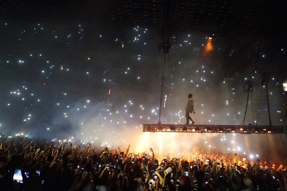 人, 群衆, コンサート, 歌手, 歌, パフォーマンス, ライト, 暗い, 泊, ステージ