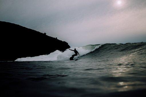 海, 水, 波, 自然, サーフィン, 人, 男, 暗い, シルエット, 石
