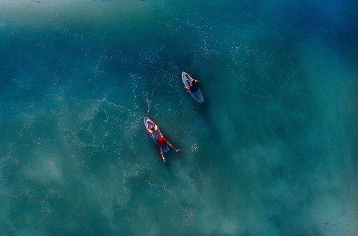 人, 男性, サーフィン, ボード, スポーツ, 海, 青, 水