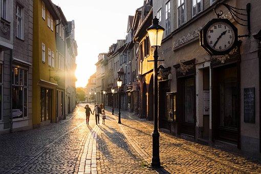 アーキテクチャ, 建物, 古い, 町, 日没, 通り, 極, 光, クロック