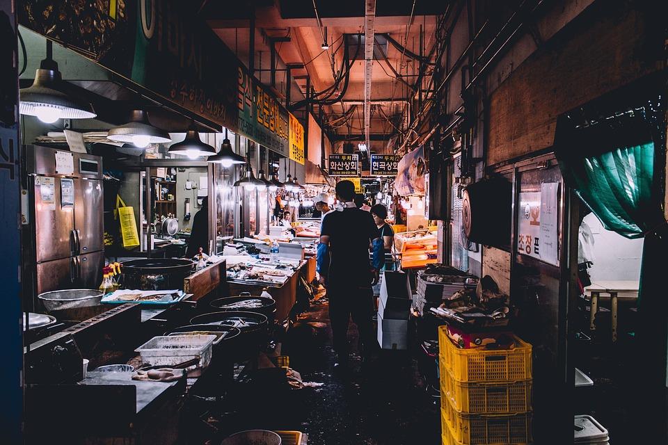 People, Men, Woman, Wet, Market, Basket, Meat, Fish