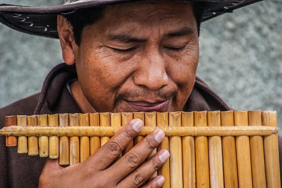 Människor, Mannen, Handen, Bambu, Flöjt, Musikaliska