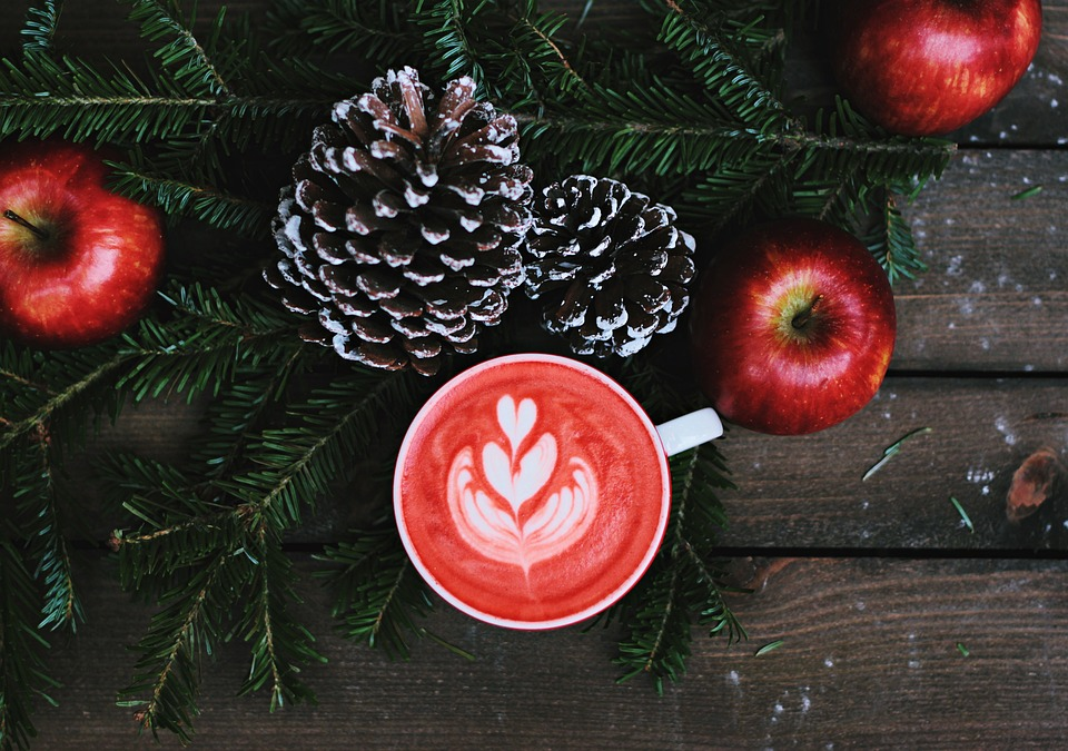 Coffe, Latte, Art, Froth, Red, Apple, Christmas