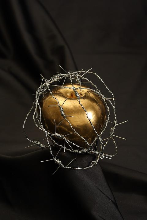 Adam, Ewa, Jabłko, Złoto, Namalowany, Zakazane Jabłka