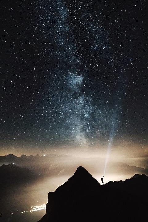 Mountain, Valey, Hill, People, Man, Alone, Dark, Night