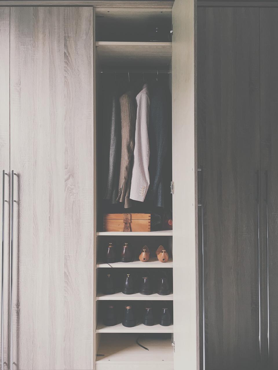 ワードローブ, クローゼット, キャビネット, ドア, オープン, 靴, 衣料品, ボックス, 内部